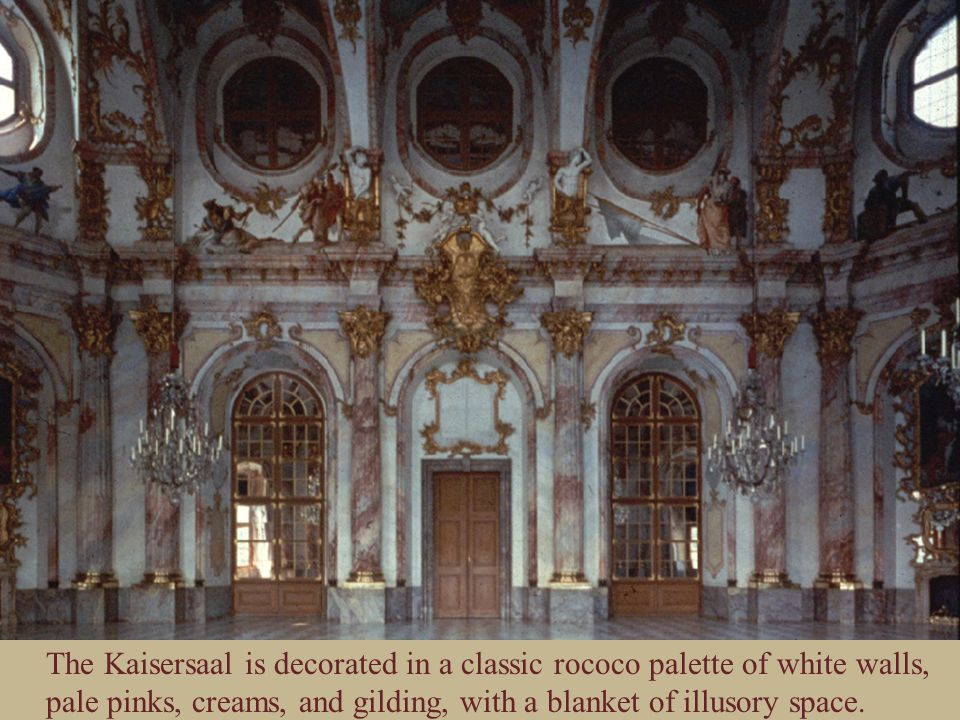 The Kaisersaal is decorated in a classic rococo palette of white walls, pale pinks, creams, and gilding, with a blanket of illusory space.