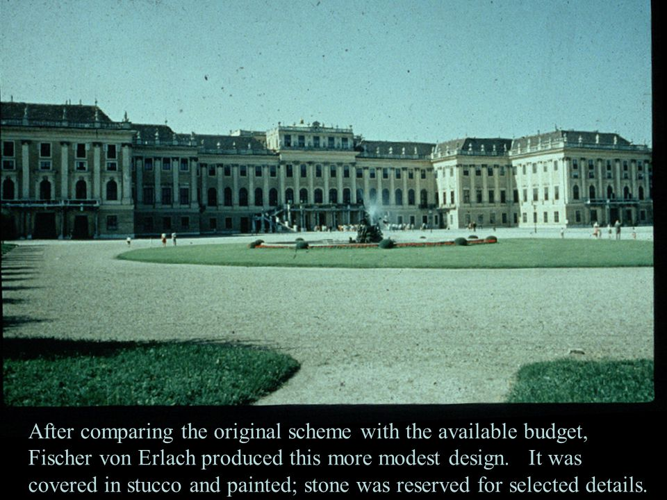 After comparing the original scheme with the available budget, Fischer von Erlach produced this more modest design.