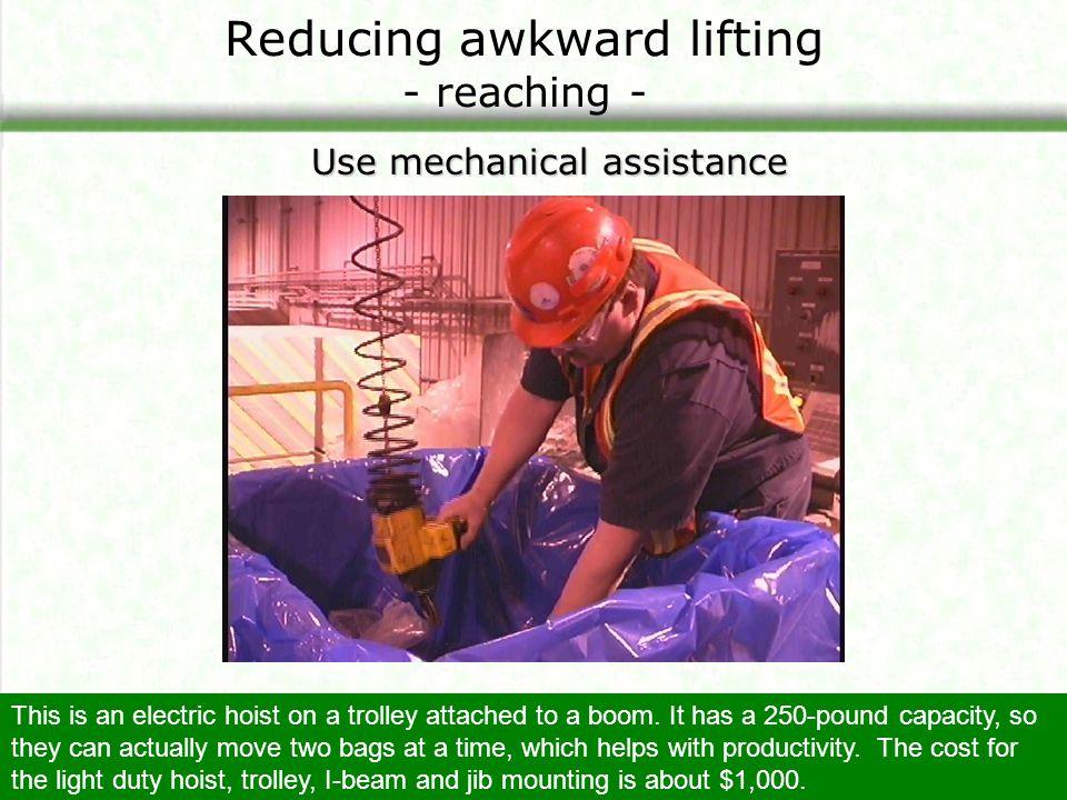 Reducing awkward lifting - reaching -