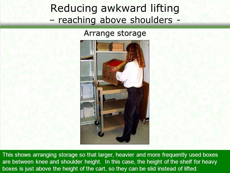 Reducing awkward lifting – reaching above shoulders -
