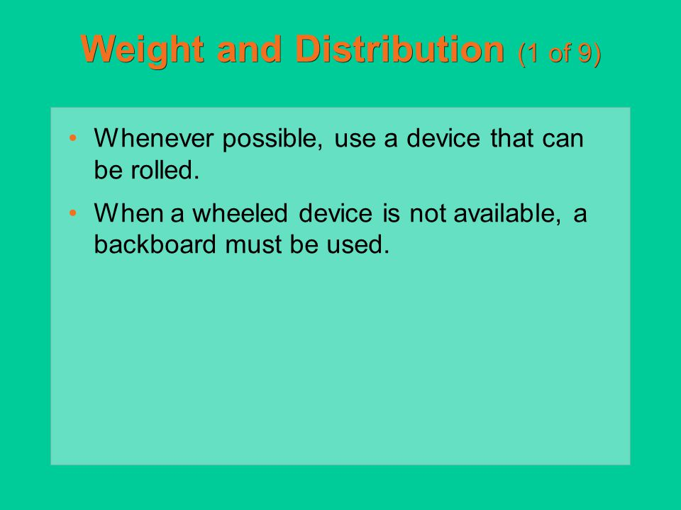 Weight and Distribution (1 of 9)
