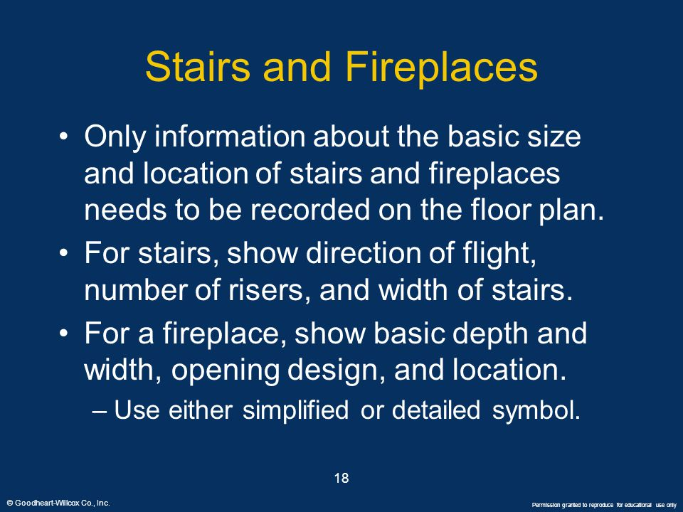 Stairs and Fireplaces Only information about the basic size and location of stairs and fireplaces needs to be recorded on the floor plan.