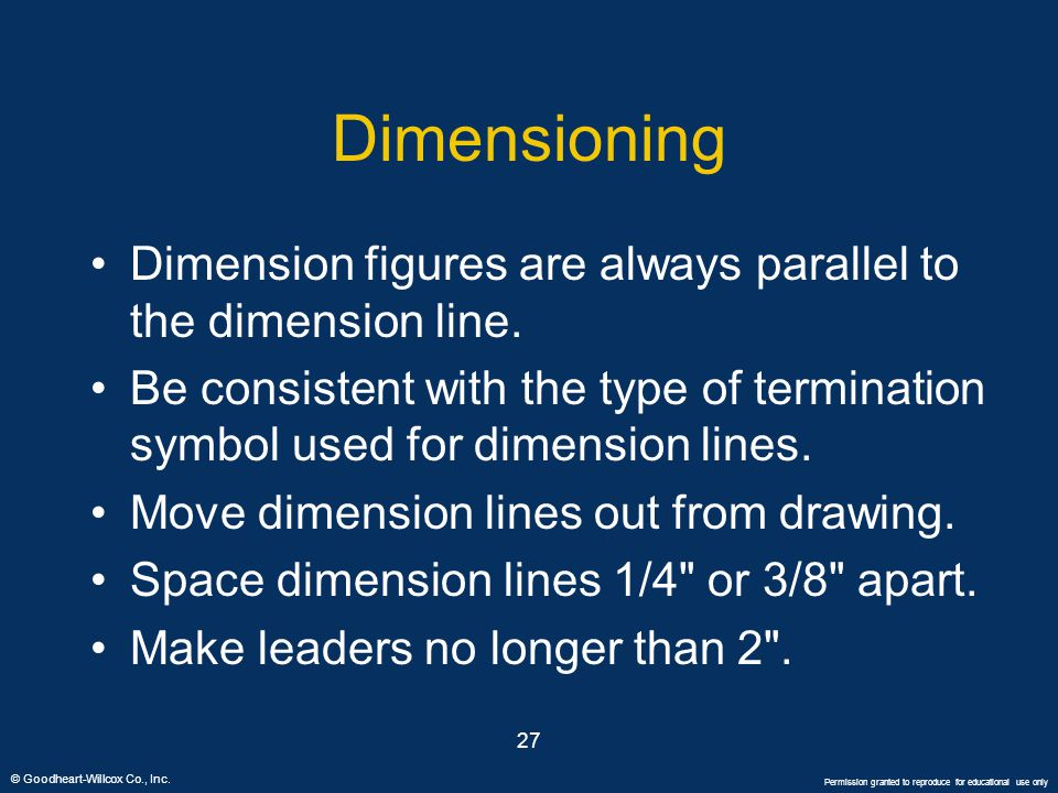 Dimensioning Dimension figures are always parallel to the dimension line.