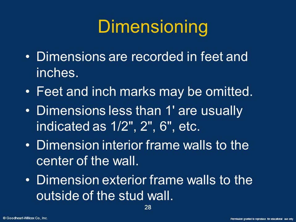 Dimensioning Dimensions are recorded in feet and inches.