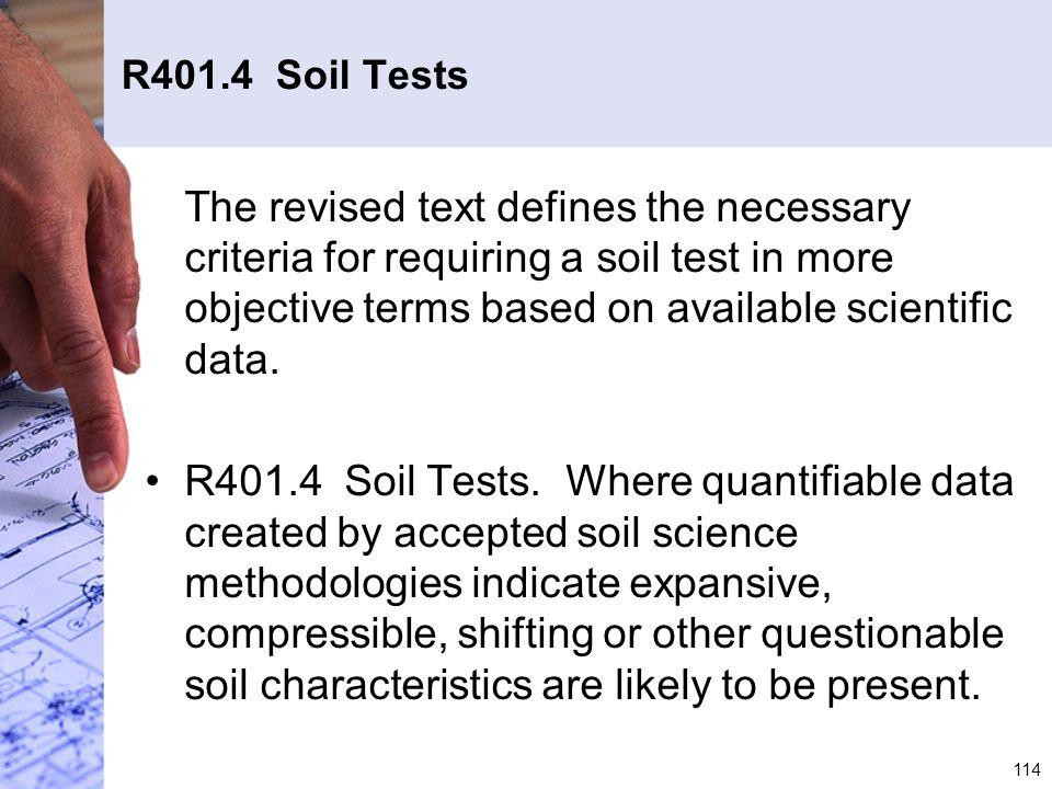 R401.4 Soil Tests