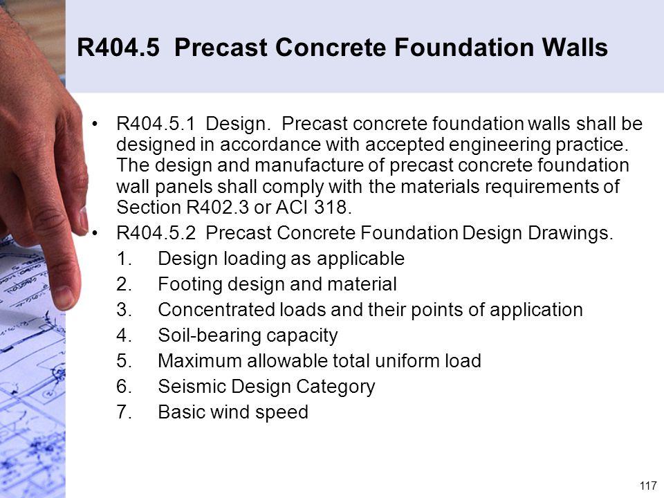 R404.5 Precast Concrete Foundation Walls
