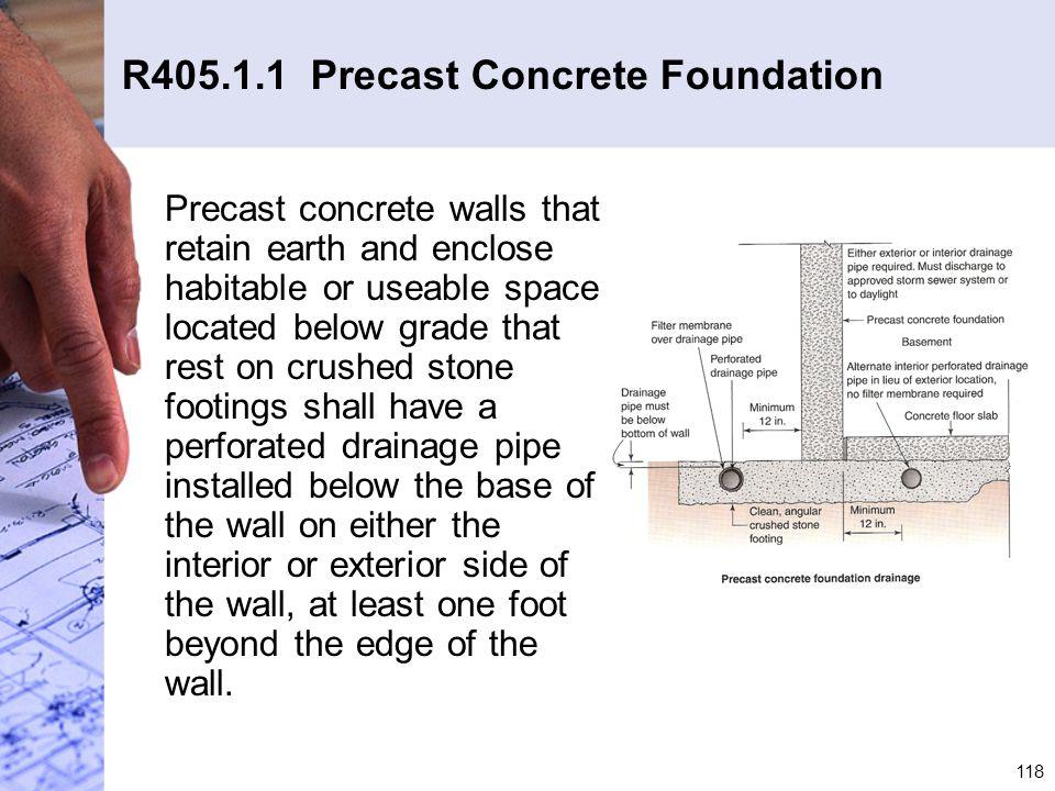 R405.1.1 Precast Concrete Foundation