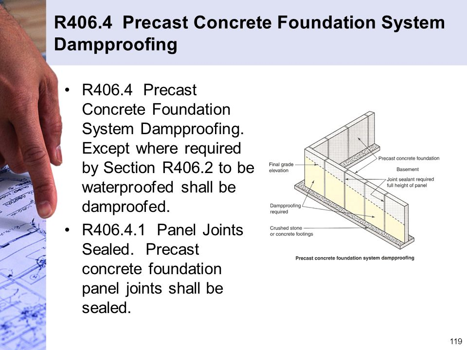 R406.4 Precast Concrete Foundation System Dampproofing