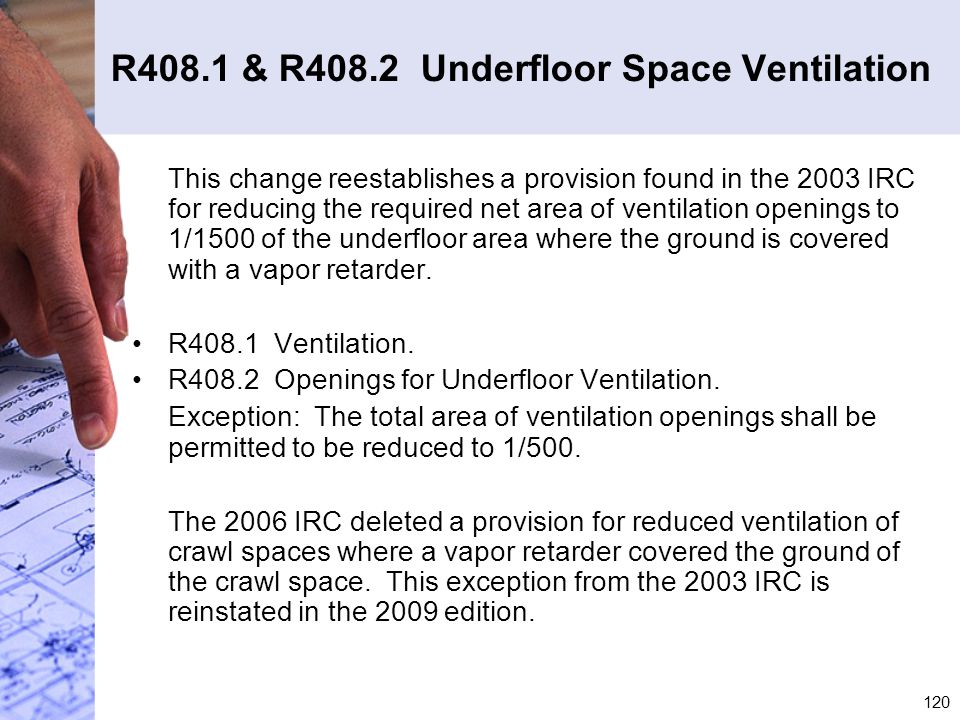 R408.1 & R408.2 Underfloor Space Ventilation