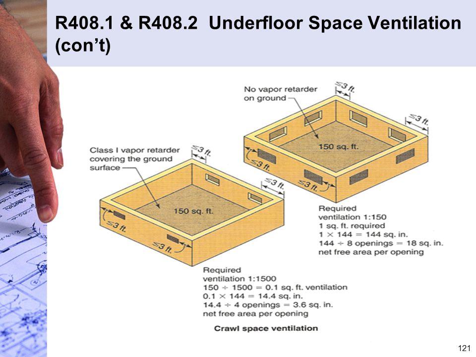 R408.1 & R408.2 Underfloor Space Ventilation (con't)