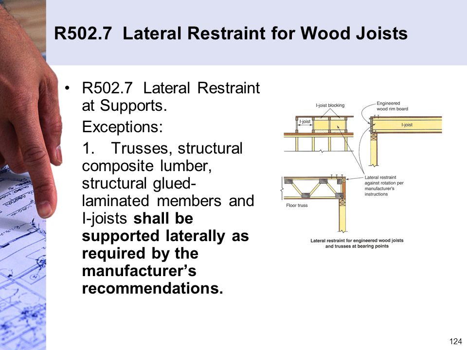 R502.7 Lateral Restraint for Wood Joists