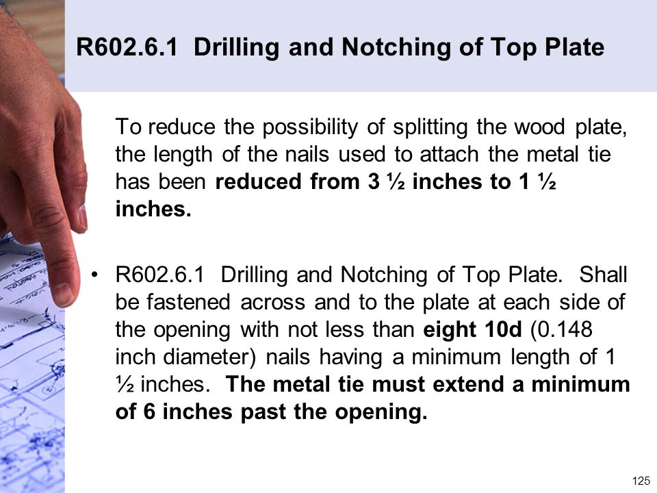 R602.6.1 Drilling and Notching of Top Plate