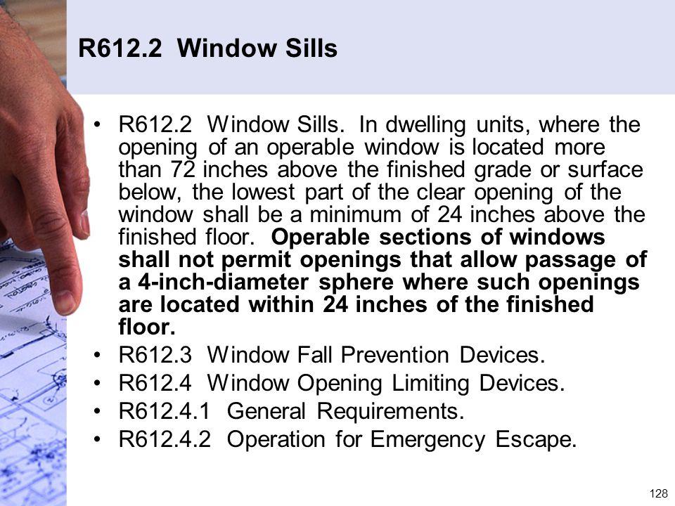 R612.2 Window Sills