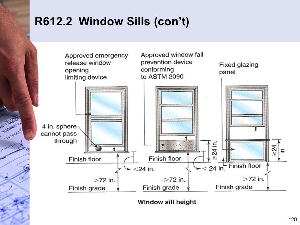 R612.2 Window Sills (con't)