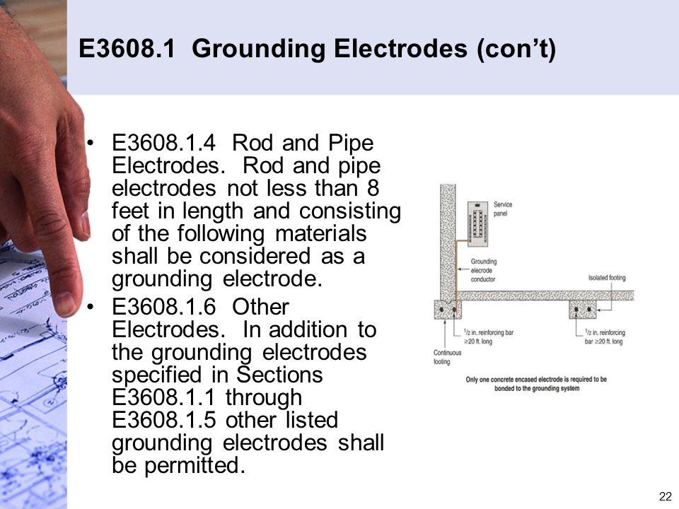 E3608.1 Grounding Electrodes (con't)