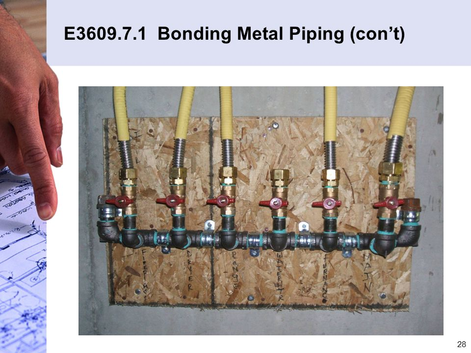 E3609.7.1 Bonding Metal Piping (con't)