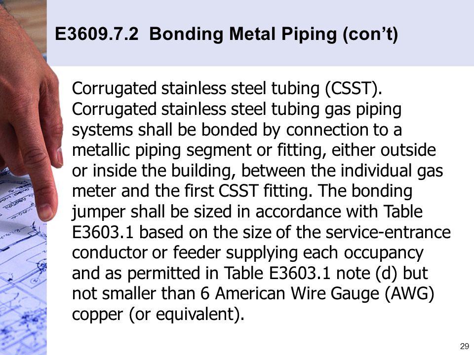 E3609.7.2 Bonding Metal Piping (con't)