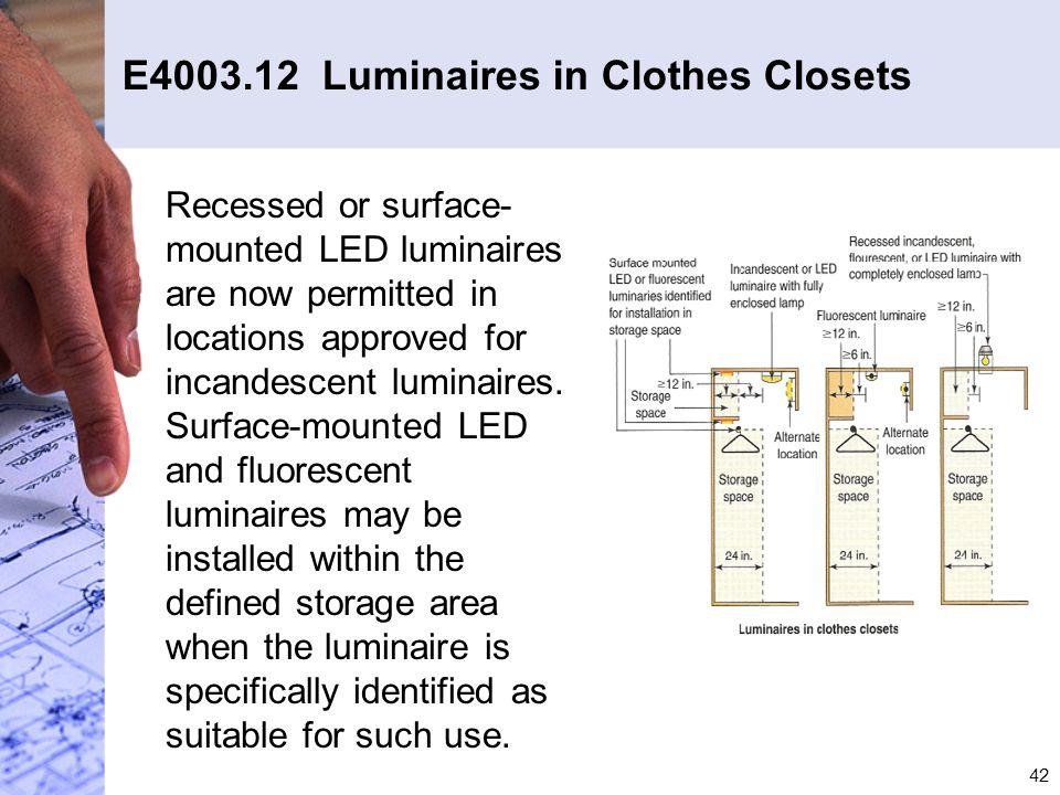 E4003.12 Luminaires in Clothes Closets