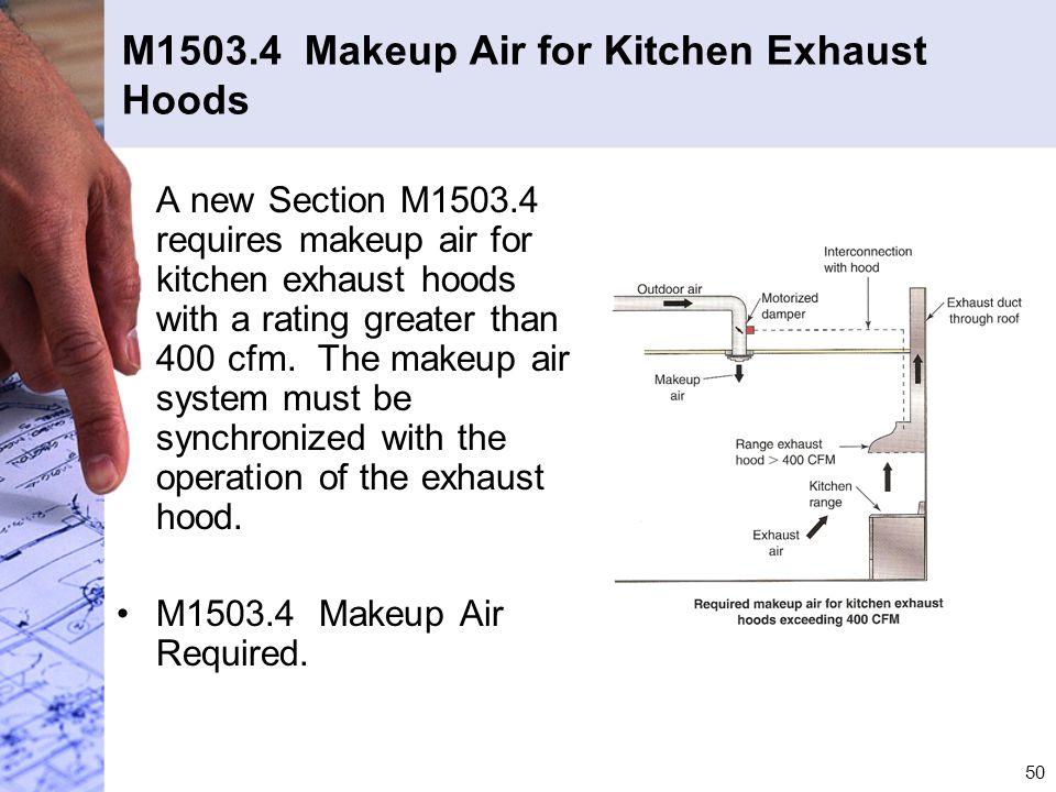 M1503.4 Makeup Air for Kitchen Exhaust Hoods