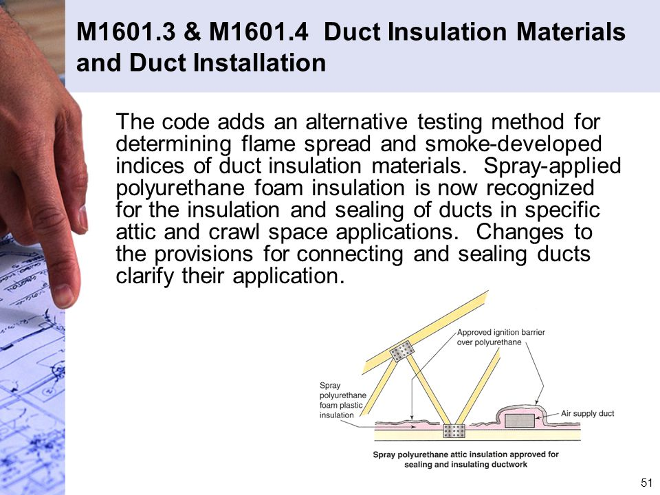 M1601.3 & M1601.4 Duct Insulation Materials and Duct Installation