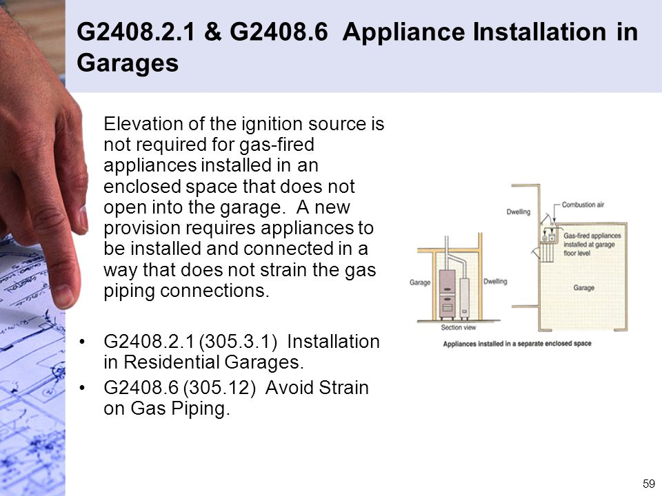 G2408.2.1 & G2408.6 Appliance Installation in Garages
