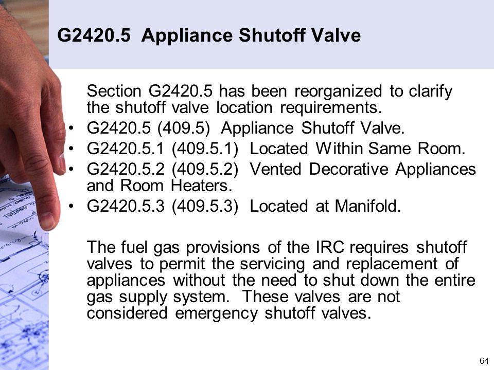 G2420.5 Appliance Shutoff Valve