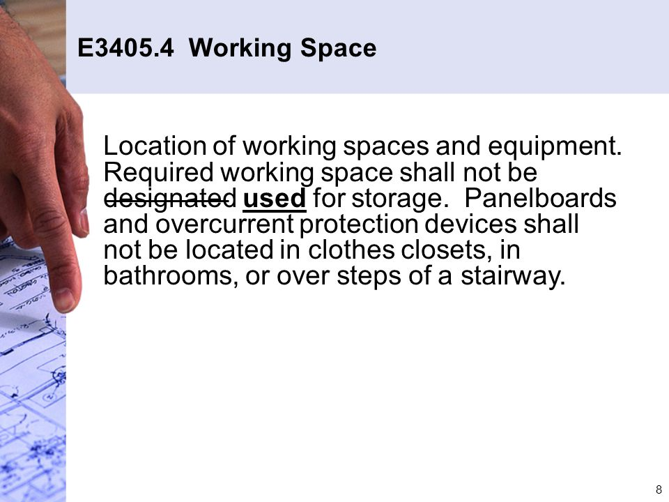 E3405.4 Working Space