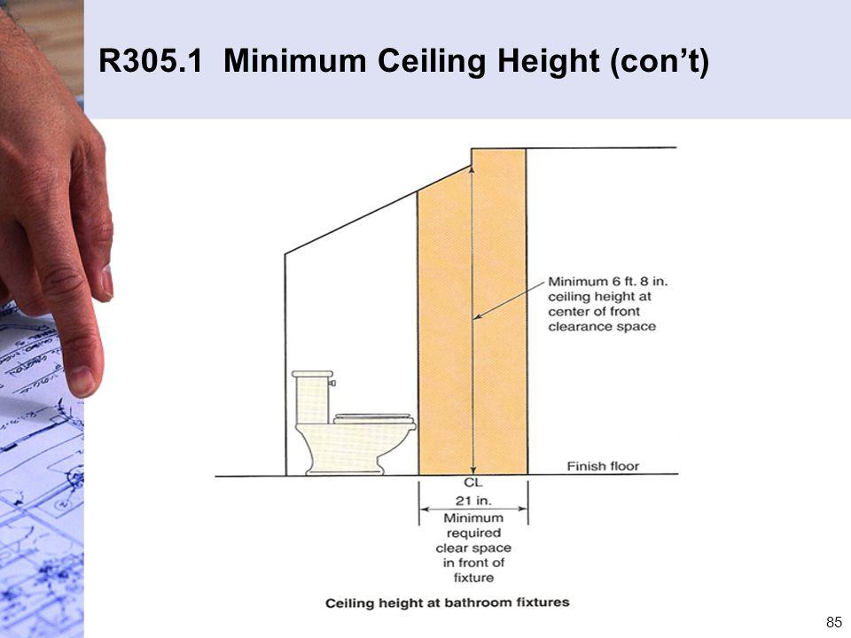 R305.1 Minimum Ceiling Height (con't)