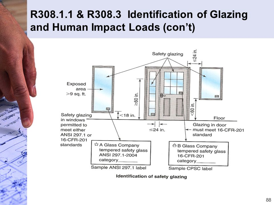 R308.1.1 & R308.3 Identification of Glazing and Human Impact Loads (con't)