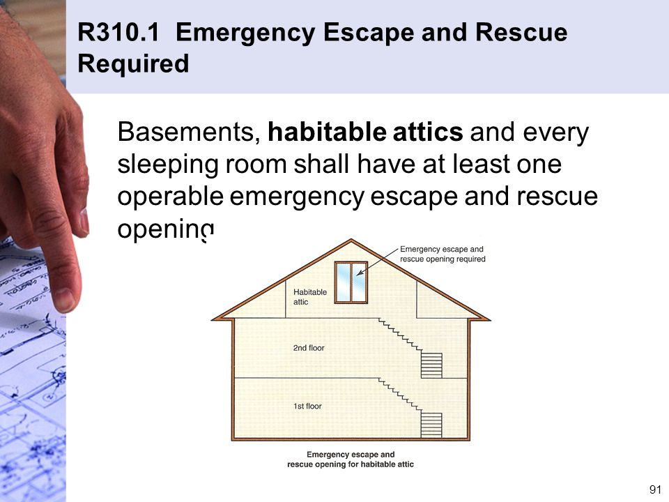 R310.1 Emergency Escape and Rescue Required