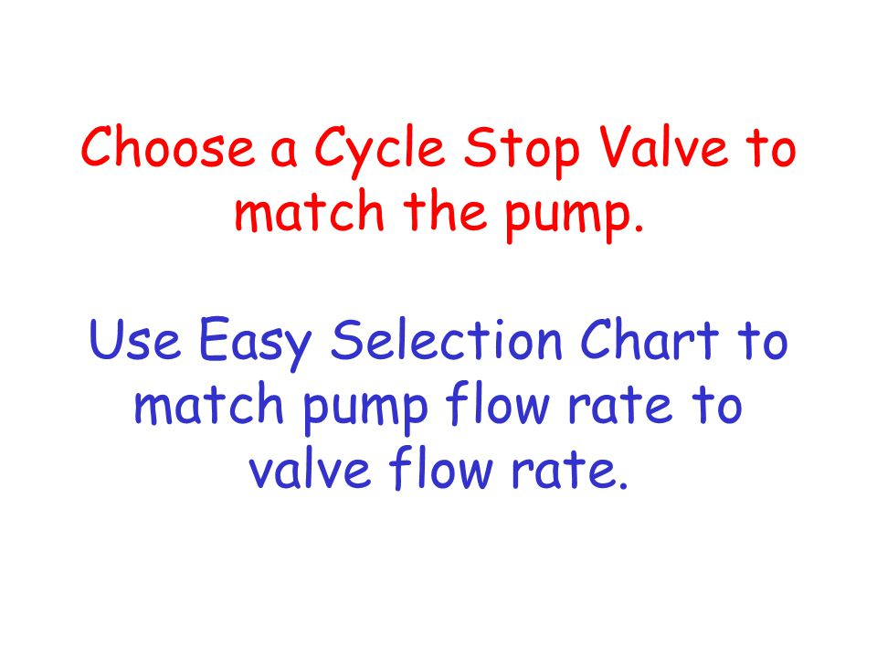 Choose a Cycle Stop Valve to match the pump