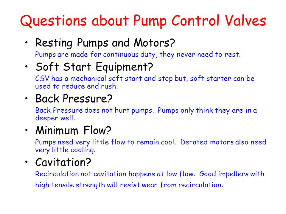 Questions about Pump Control Valves