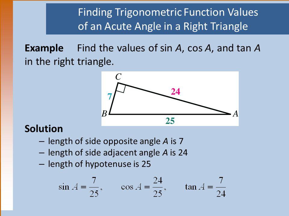 Finding Trigonometric Function Values