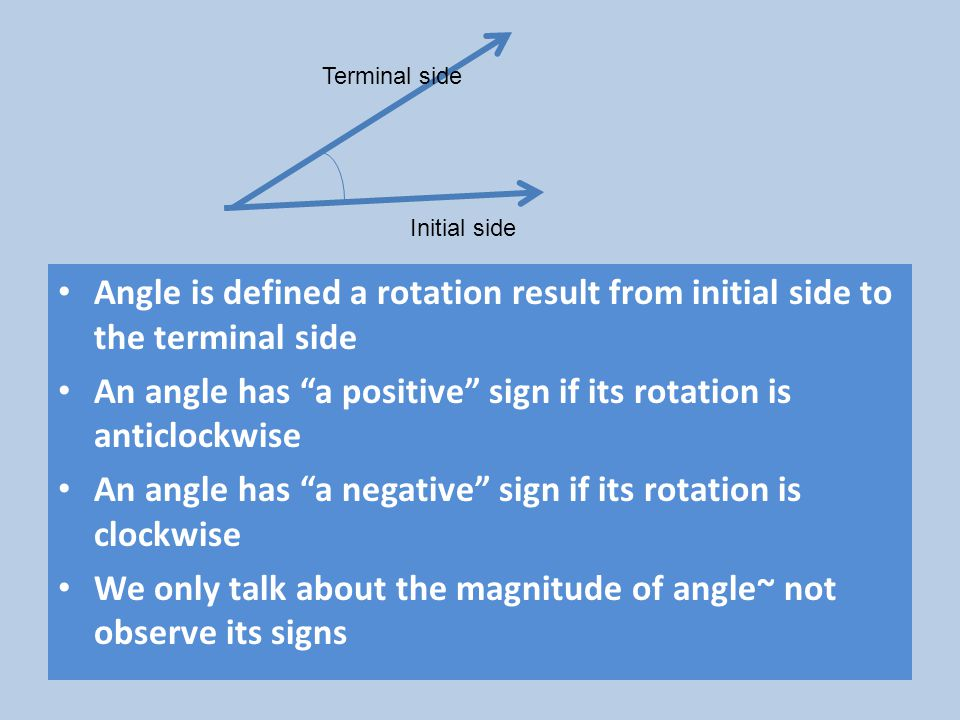 An angle has a positive sign if its rotation is anticlockwise