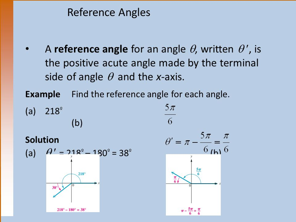Reference Angles A reference angle for an angle , written  , is the positive acute angle made by the terminal side of angle  and the x-axis.