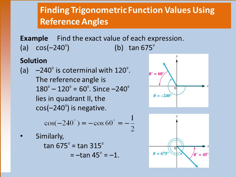 Finding Trigonometric Function Values Using Reference Angles