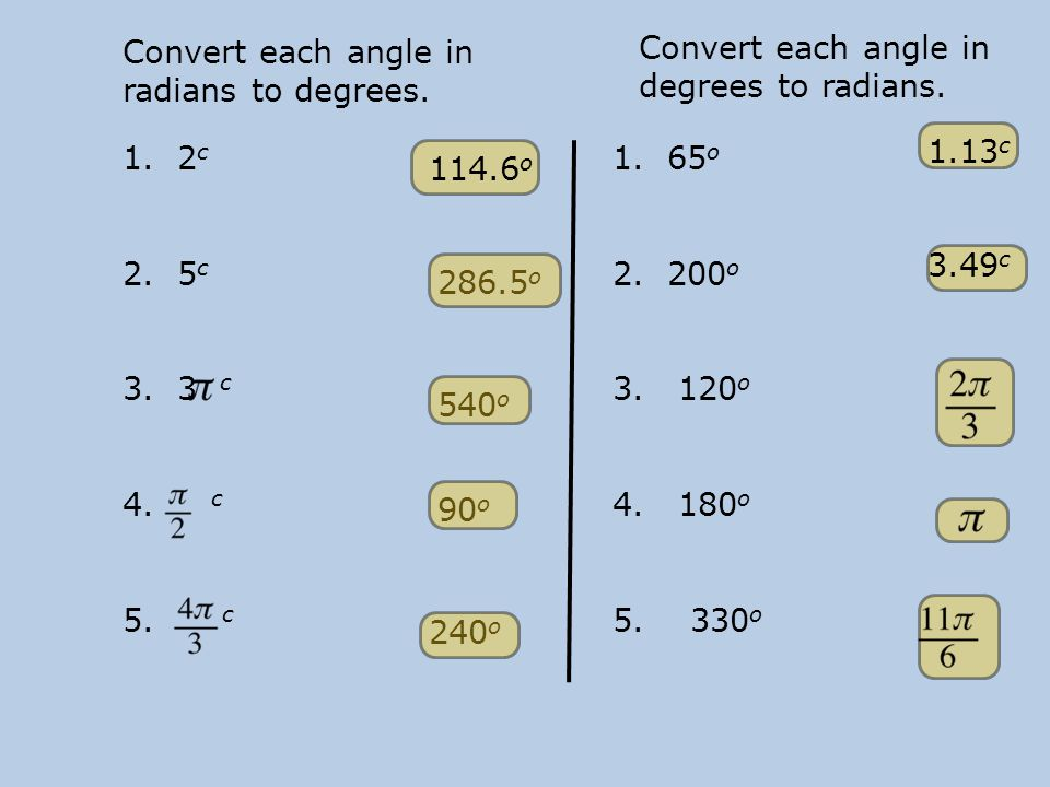 Convert each angle in radians to degrees.