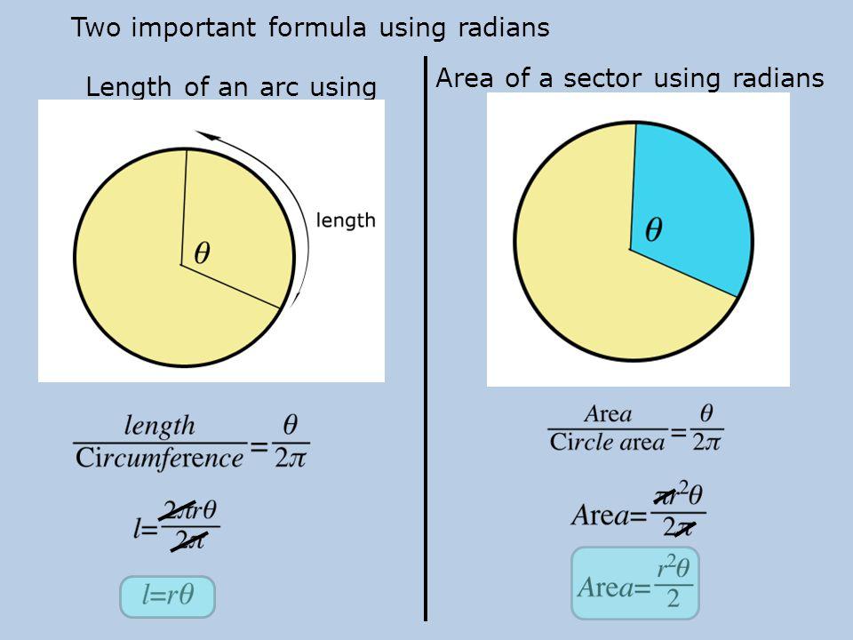 Two important formula using radians
