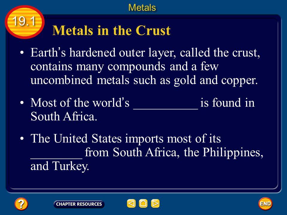 Metals 19.1. Metals in the Crust.