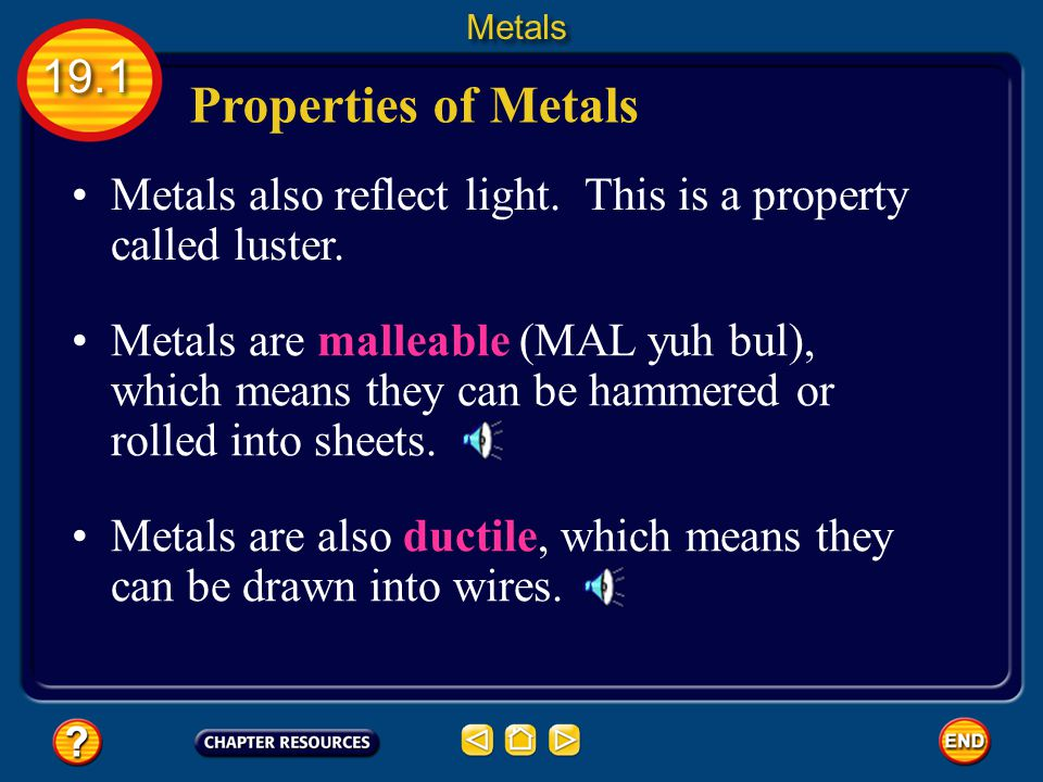 Metals 19.1. Properties of Metals. Metals also reflect light. This is a property called luster.