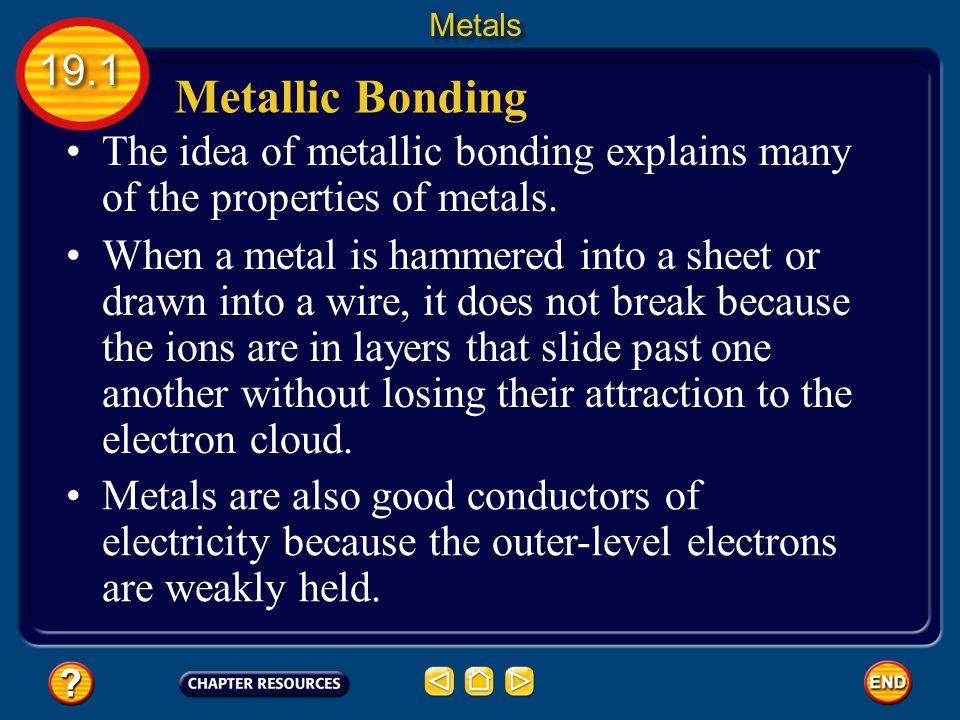 Metals 19.1. Metallic Bonding. The idea of metallic bonding explains many of the properties of metals.