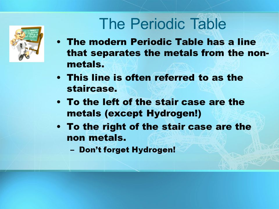 The Periodic Table The modern Periodic Table has a line that separates the metals from the non-metals.