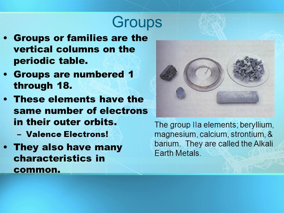 Groups Groups or families are the vertical columns on the periodic table. Groups are numbered 1 through 18.
