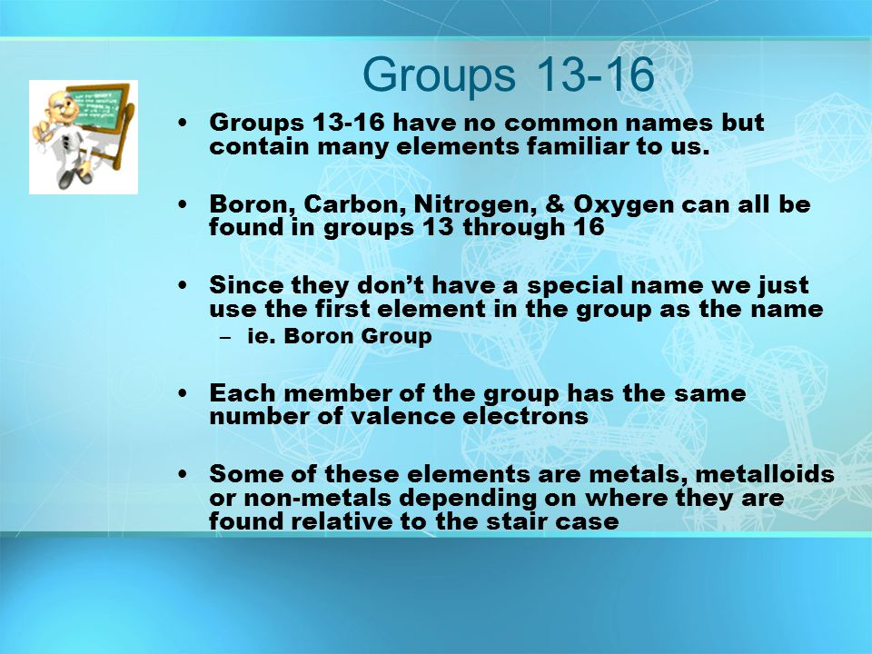 Groups 13-16 Groups 13-16 have no common names but contain many elements familiar to us.