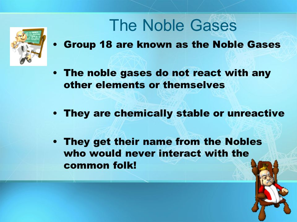 The Noble Gases Group 18 are known as the Noble Gases