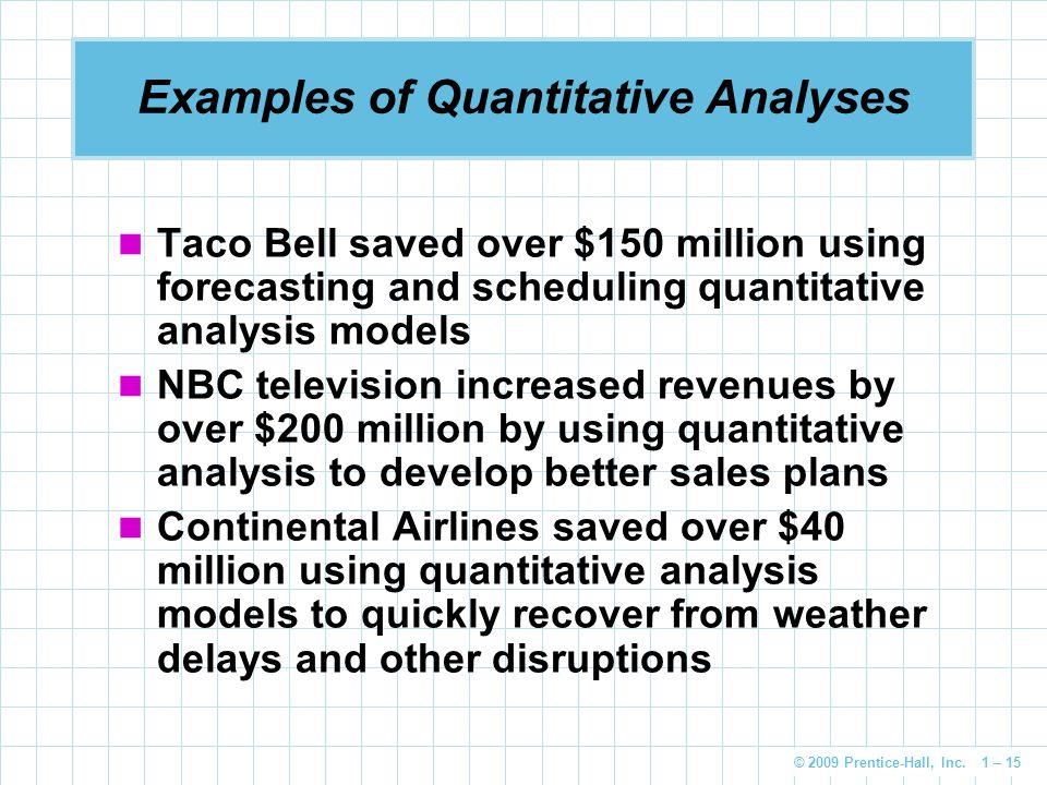 Examples of Quantitative Analyses