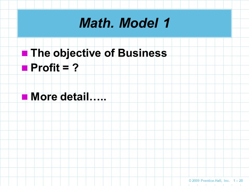 Math. Model 1 The objective of Business Profit = More detail…..