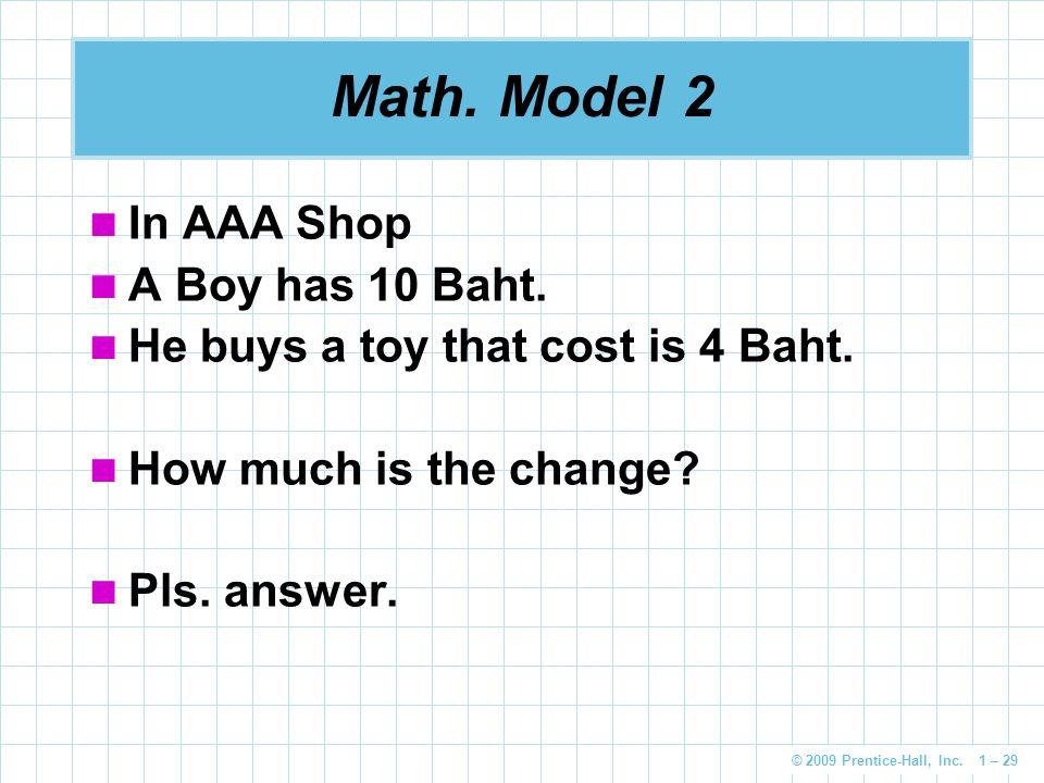 Math. Model 2 In AAA Shop A Boy has 10 Baht.