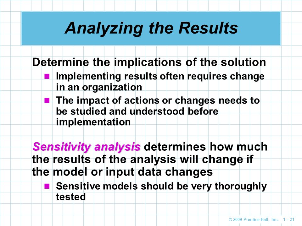 Analyzing the Results Determine the implications of the solution