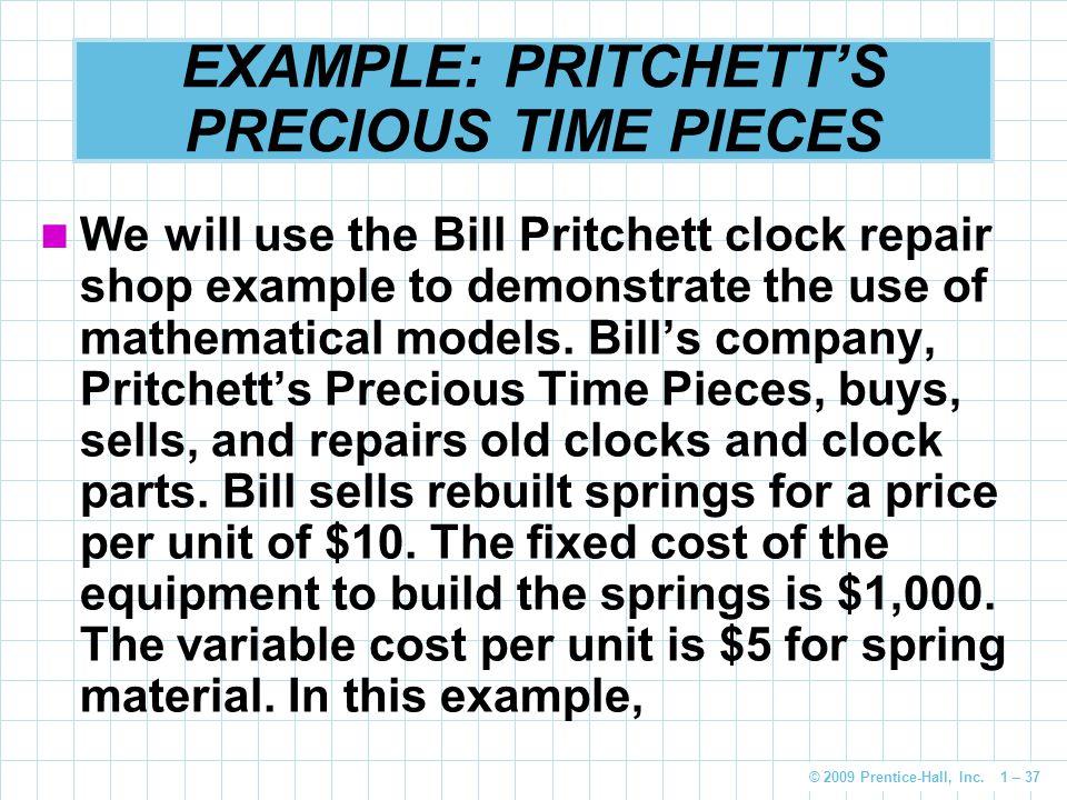 EXAMPLE: PRITCHETT'S PRECIOUS TIME PIECES